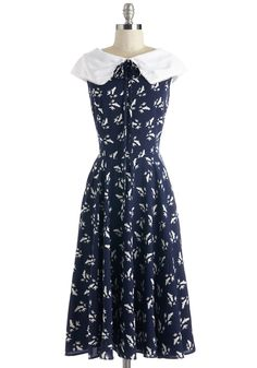 Migrate to Montauk Dress. Your favorite aspect of vacationing on the coast? #blue #modcloth