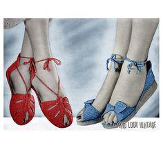 Vintage Crochet Pattern Wedge Sandal Slipper Shoe Peep Toe Ankle Tie 1950s Digital Download PDF