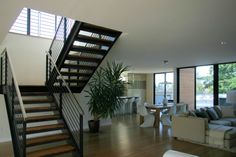 Steel staircase w timber steps