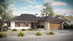 Projekt domu Z301. Parterowy dom z garażem na 2 auta, wygodnymi sypialniami i dużym tarasem