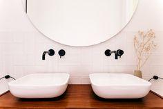 Contemporary bathroom with unique vintage pieces and lighting. Bathroom Inspo, Bathroom Inspiration, Bathroom Ideas, Bathroom Renos, Small Bathroom, Contemporary Bathrooms, Herringbone Pattern, Amsterdam, Mirror