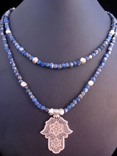Moroccan silver and lapis hamsa necklace