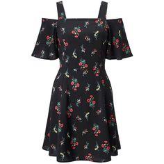 Miss Selfridge PETITE Cold Shoulder Dress (55 AUD) ❤ liked on Polyvore featuring dresses, black, petite, petite dresses, flower pattern dress, floral dresses, petite floral dress and rayon dress