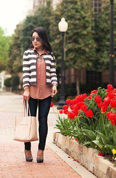 cute & little blog | loft boxy striped jacket, pink shirt, rag bone skinny jeans, chloe + isabel statement necklace | spring outfit