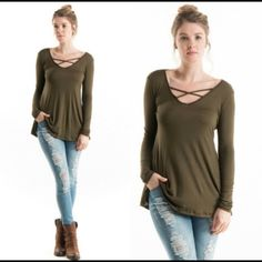 FIRM PRICE Trendy Olive Criss Cross Top Cross Cross Long Sleeve Top. Chic and Beautiful! Very comfortable and work appropriate. Perfect for Fall and Winter. 96% Rayon 4% Spandex. Great to layer with. Various sizes are available. Has no tags because it came straight from distributor! Fashionomics Tops Tees - Long Sleeve