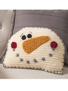 What's New – Crochet – Snowman Pillow Crochet Pattern crochet pillow Crochet Snowman, Christmas Crochet Patterns, Easy Crochet Patterns, Knitting Patterns, Crochet Christmas Blanket, Bag Crochet, Crochet Home, Crochet Gifts, Free Crochet