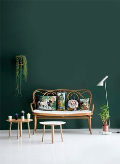 Green wall color - can be reached by a trendy decor