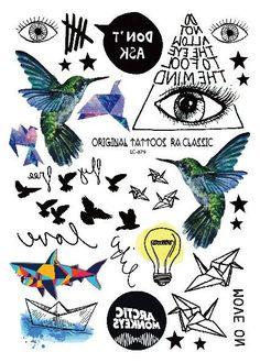 A6080-209 Big Black tatuagem Taty Body Art Temporary Tattoo Stickers Gradient Colorful Birds Eye Shark Glitter Tatoo Sticker