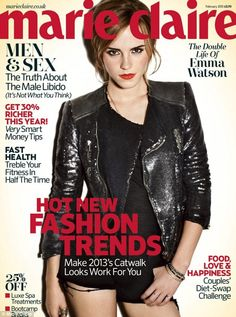 'Perks of Being a Wallflower' beauty Emma Watson shows off her seductive side in her new photo shoot for Marie Claire UK Magazine. In her interview, Emma highlighted the importance of family, along with the pressures she places Style Emma Watson, Emma Watson Sexy, Ema Watson, Marie Claire, V Magazine, Magazine Covers, Magazine Photos, Cosmopolitan, Vanity Fair