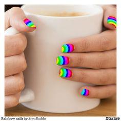 Shop Rainbow nails minx nail art created by SiwaBudda. Girls Nail Designs, Short Nail Designs, Toe Nail Designs, Art Designs, Fingernail Designs, Bright Summer Acrylic Nails, Bright Nails, Summer Nails, Neon Nails