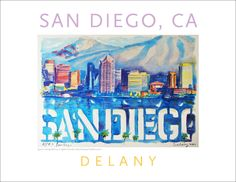 San Diego Skyline, Watercolor on Paper, #walldecor #597