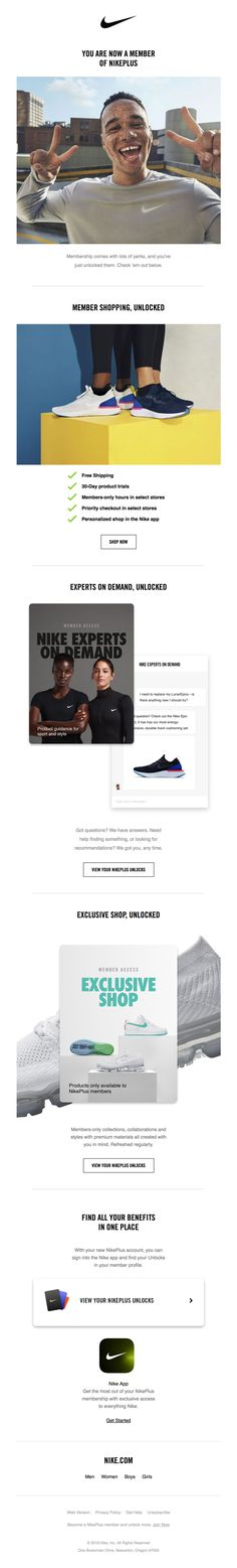 Welcome to your NikePlus membership Email Marketing, Digital Marketing, Welcome Emails, Report Design, Email Design, Ecommerce, Inspiration, Biblical Inspiration, E Commerce