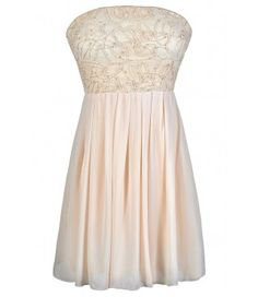 Cute Cream Dress, Strapless Beige Dress, Ivory Rehearsal Dinner Dress, Cream Strapless Dress, Beige Strapless Party Dress