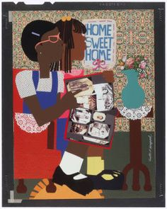 Home Sweet Home (correct title?) by Varnette Honeywood Renaissance Artists, Harlem Renaissance, African American Artwork, American Artists, Usc Library, University Of Southern California, Sweet Home, Black Artists, Home Wall Art