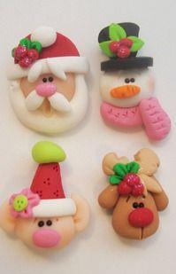 Mini Mix Set Santas Elf Rudolph Snowman Polymer by rainbowdayhappy