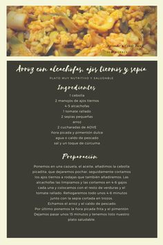 Receta muy saludable, adecuada para control de peso, sencilla de elaborar con alimentos de temporada. Control, Garlic, Recipes, Eating Well, Healthy, Meals