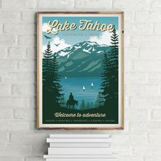 Vintage Travel Poster Lake Tahoe Travel by GraphicHomeDesign