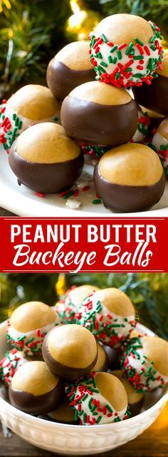 This recipe for buckeye balls is the classic peanut butter balls dipped in dark ., Desserts, This recipe for buckeye balls is the classic peanut butter balls dipped in dark or white chocolate. A holiday treat that's both easy and energy effici. Easy Christmas Cookie Recipes, Christmas Cookie Exchange, Best Christmas Cookies, Christmas Snacks, Xmas Cookies, Christmas Cooking, Holiday Treats, Holiday Recipes, Kids Christmas
