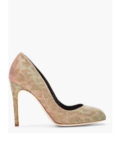 65c6e93b5e2 Rupert Sanderson Green And Pink Iridescent Lita Heels for women