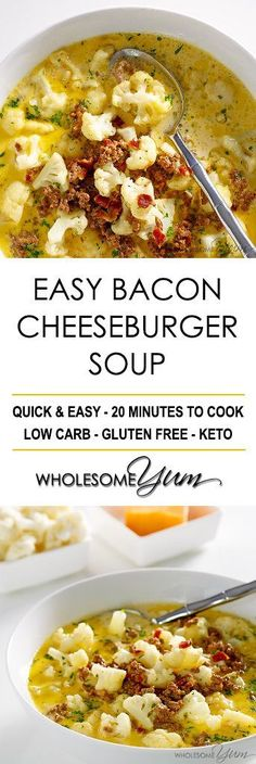 Bacon Cheeseburger Soup (Low Carb, Gluten-free) - This easy bacon cheeseburger soup recipe is like comfort in a bowl. Low carb, gluten-free, keto, and healthy. No crockpot required. #KETOGENICDIET
