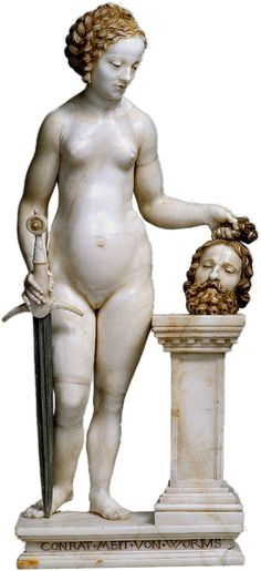 """""""...Off with his head!"""" >>> Conrat Meit - Judith beheading Holofernes - Alabaster figure by Conrad Meit, c. 1525"""
