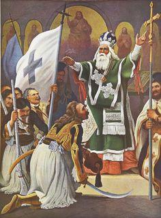 Λεύκωμα : Το Ηρώον του Αγώνος - Ο Παλαιών Πατρών Γερμανός.Πρόκειτα ιγια ανατύπωση τετραχρωμίας του πίνακα του Von Hess με θέμα τον αγωνιστή - Μητροπολίτη του 21 Παλαιών Πατρών Γερμανό, ο πρώτος που ευλόγησε την σημαία της Ελευθερίας.Ο γερμανός ζωγράφος Peter Von Hess φιλοτέχνησε κατά το διάστημα 1827-1834, 40 λιθογραφίες με θέματα από την Ελληνική Επανάσταση μετά από ανάθεση από τον φιλέλληνα βασιλιά της Βαυαρίας Λουδοβίκο, πατέρα του Όθωνα . Greek Independence, Albanian Culture, Greece History, Greek Warrior, Faith In Love, In Ancient Times, Eastern Europe, Coat Of Arms, Sketches