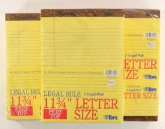 """Office 1800 TOPS Canary Writing Legal Note Pad 8.5 x 11.75"""" 36 x  50 Sheets 7532 #Tops"""