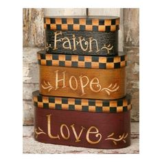 "Amazon.com: 3 Primitive Coutry Oblong Nesting Boxes - Faith Love Hope - Small 9 1/2"" High When Stacked - Perfect for Primitive Country Decor: Home & Kitchen"