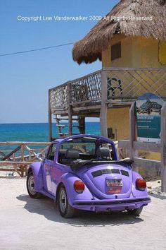 Purple Volkswagen bug car at the beach
