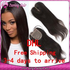 "===DHL /UPS Fast Shipping Peruvian Straight Hair lace Closure Human Hair Closure 4x4"" Free Middle 3 Part Closure Bleached Knots US $39.05"
