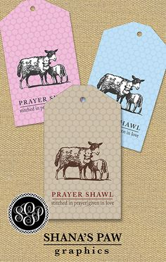 This ShanasPaw.com Tag design has a ewe and her lamb - together symbols of wool, love, and the Lamb of God - on a subtle polka dot background. Your purchase includes 6 tag templates with your wording and choice of colors.