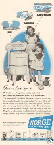 1940s Vintage Norge Wringer Washing Machine Apron Miniature Doll Washtub Ad | eBay