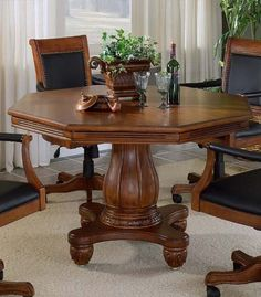 Cherry Finished Flip-Top Dining/Poker Table - I don't like the big pedestal