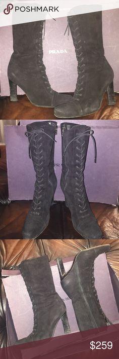 Selling this Prada black suede lace-up mid calf high heel boots on Poshmark! My username is: rsveta. #shopmycloset #poshmark #fashion #shopping #style #forsale #Prada #Shoes