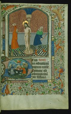 Book of Hours Above: Flagellation; below: Annunciation to the shepherds Walters Manuscript W.173 fol. 47r by Walters Art Museum Illuminated Manuscripts