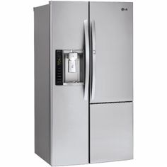 LG - 22 cu.ft. Side-By-Side Counter-Depth Refrigerator - Stainless Steel - Angle…