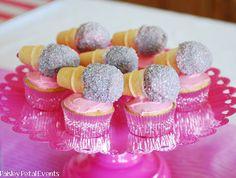 Paisley Petal Events  Barbie Popstar microphone cupcakes