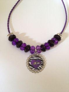 Baltimore Ravens Football Inspired Zebra Heart Design Beaded Purple Leather Necklace
