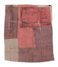 """Hannelore Baron, """"Collage"""" (1976), fabric and other media, 7 3/4 x 6 5/8 inches."""