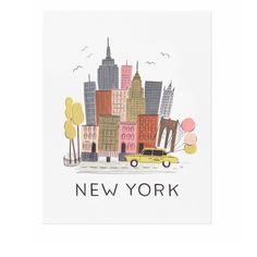 <p>Affiche NewYork, illustration du skyline de la ville de New York version revisitée vintage , design Rifle paper&co, fabriquée et imprimée aux USA. On aime son côté rétro et très décoratif, une vraie invitation aux voyages...!</p>
