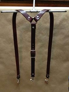 Wide Leather Suspenders by 440 Gentleman Supply Leather Harness, Leather Belts, Leather Tooling, Leather Men, Leather Braces, Leather Suspenders, Leather Projects, Leather Craft, Handmade Leather