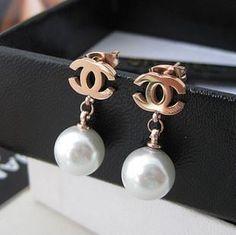 Gold Plated Chanel Earrings and Pearl Bracelet Chanel Pearl Earrings, Chanel Pearls, Chanel Jewelry, Jewlery, Pearl Bracelet, Drop Earrings, Cheap Jewelry, Jewelry Accessories, Fashion Accessories