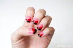 A pretty in red and pink nail design tutorial