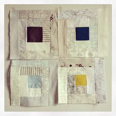 quilt blocks Blueberry Park  I like the concept of a quiet / neutral quilt with tiny pops of darker neutral colors in the center of each block