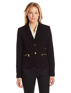 Calvin Klein Womens 2 Button Jacket with Pocket Zips Black 14 >>> You can get more details by clicking on the image. (This is an affiliate link) #LadiesSuitingandBlazers