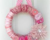 Shabby Whimsical Lace Pink Yarn Wreath