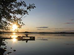 Midnight Sun at lake Jokijärvi at the beach of Saija Lodge, Taivalkoski, Kuusamo Lapland, Finland Helsinki, Lapland Finland, Midnight Sun, Sunset, Beach, Places, Nature, Outdoor, Beautiful