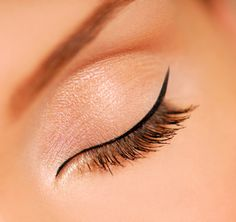 Natural lashes plus a thin line of liquid eyeliner, winged just a bit...fairly easy and SO glam.