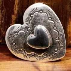 "Pendant  Pin Vintage Sterling Silver NAVAJO Hematite Signed IG Heart 8.2g 1.4"" #IG #Pendant"