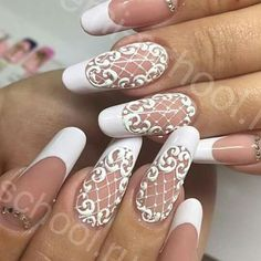 30 Fairy-Like Wedding Nails For Your Big Day – Fancy Nails Simple Wedding Nails, Wedding Nails Design, Lace Nail Design, Nail Art Designs, Nail Art Dentelle, Hair And Nails, My Nails, Nagel Hacks, Lace Nails